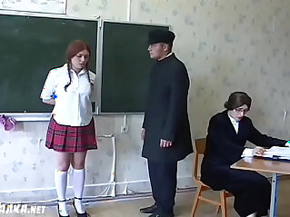Redhead russian schoolgirls gets whipped by the teacher.