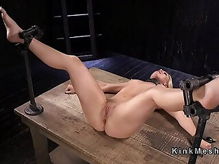 Blonde anal fisted in bondage