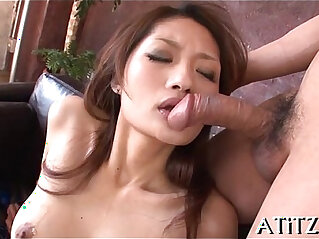 Exquisite threesome for breasty oriental