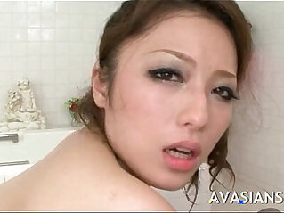 Busty japanese mom likes it deep in the bathroom