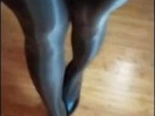 Sexy long legs milf in shiny pantyhose teasing COMP