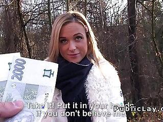 Hot blonde girl sucks and fucks pov in public