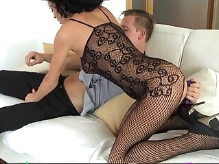 StrapOn Mature women taking DP with a vibrating cockring strap