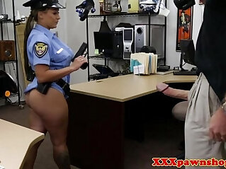 Uniform pawnshop slut dicksucking for cash