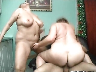 Two fat sluts sharing cock in the