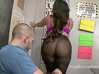 Sloppy footjob and blowjob in class with angelina castro