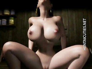 Horny 3D anime babe gets pussy jizzed