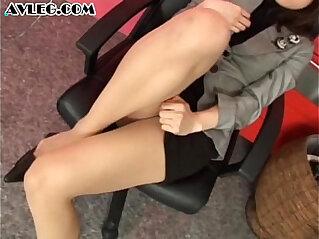 Asian secretary in pantyhose stocking nylon fetish