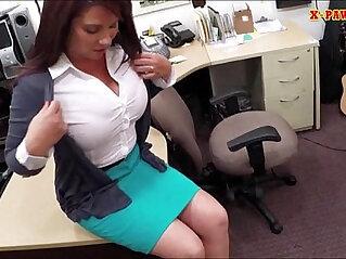 Big boobs Milf sells her husbands stuff for the bail