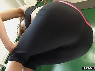 Astonishing Japanese babe got horny during the solo fitness training