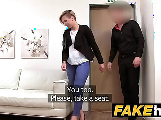 Fake Agent Short haired babe gets banged hard in the office
