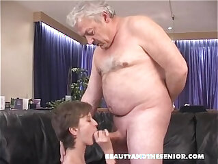 Girl sucks fat cock from old man