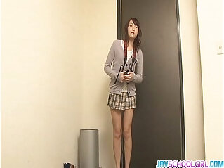 Japanese group sex with toys filling Shiori pussy