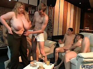 Fat blonde babe rides and sucks white cock at party