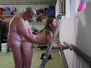 Old man fucks beautiful young schoolgirls in hardcore threesome old young