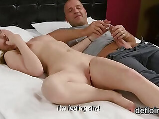 Lovesome cutie stretches narrow vagina and gets deflorated