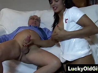 old man fucks Indian girl in sexy outfit