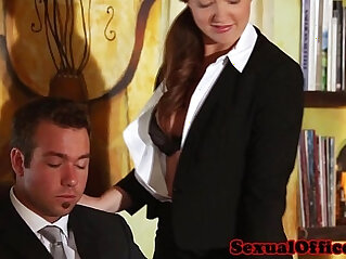 Classy redhead banged by the boss