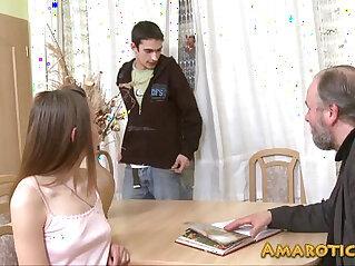 Old man young teen girl HD