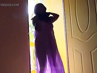 Desi girl in transparent nighty boobs visible