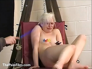 Cute amateur blonde slave Chaos tit tormented to tears and whipped in bondage on the pun