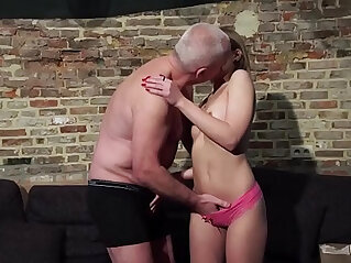 Grandpa gets his cock sucked and wet by beautiful little girl with sexy glasses