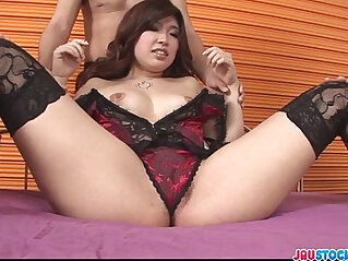 Hot and busty babe in lingerie fondled and fucked